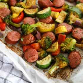Italian sausage and veggies on a sheet pan