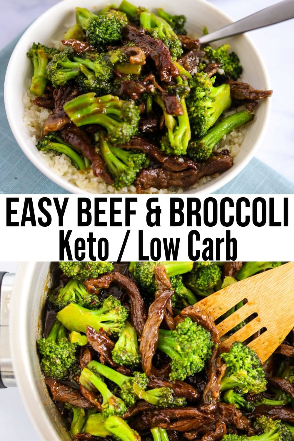 collage of pic of beef and broccoli in a bowl or in a skillet
