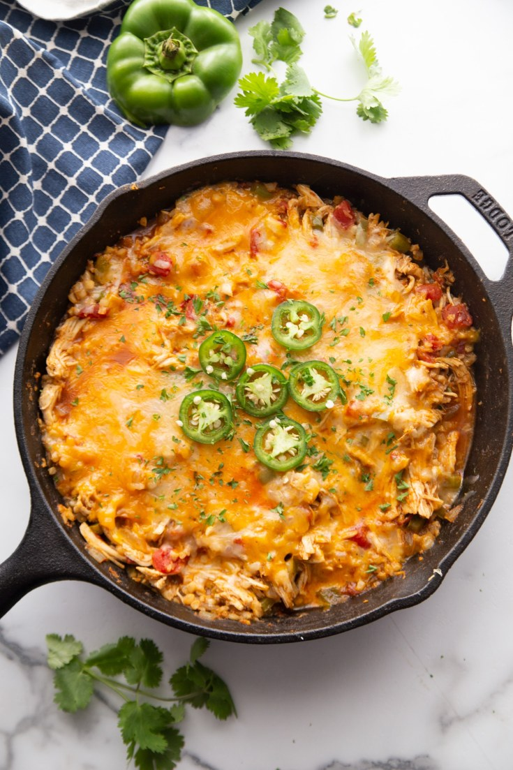 Low Carb Cheesy Mexican Casserole in a skillet