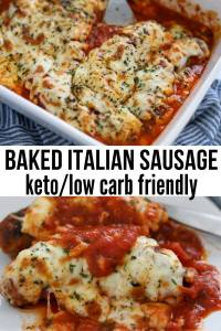 Baked Italian Sausage Parm Casserole in a baking dish