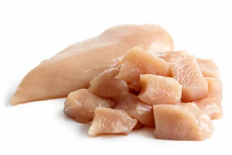 raw chicken breasts cut into nuggets