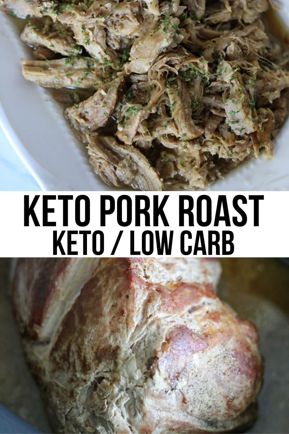 pork roast in crock pot and shredded on a plate