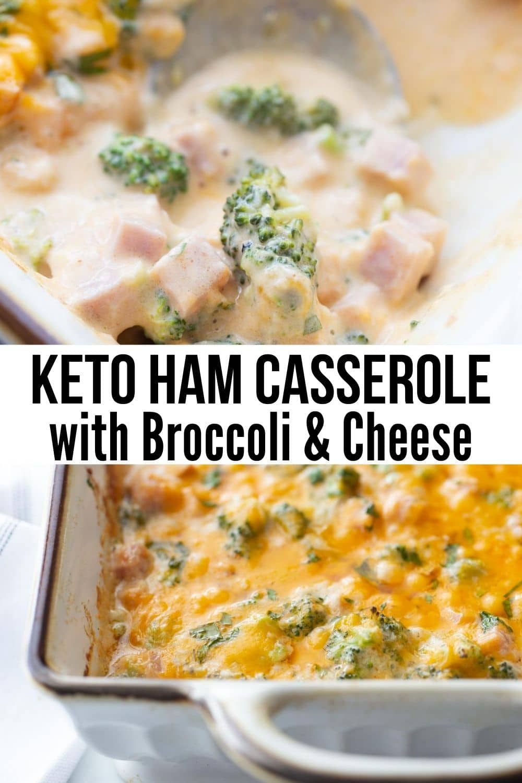 baked keto broccoli ham casserole in a casserole dish with a spoon