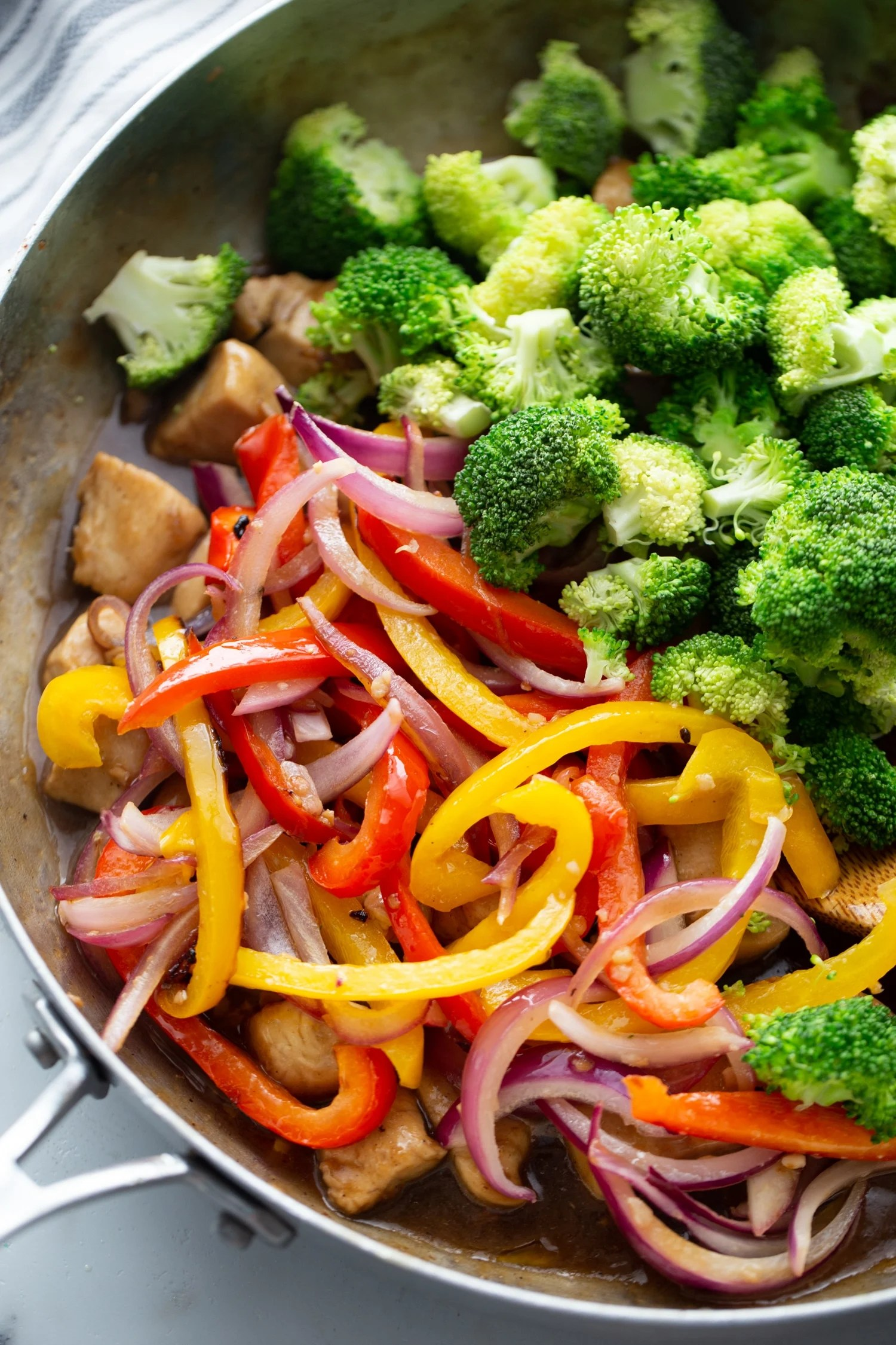 low carb chicken and vegetables in a skillet