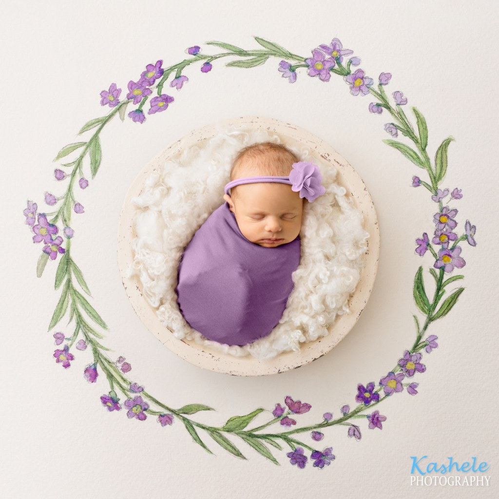 Baby in purple watercolor setup