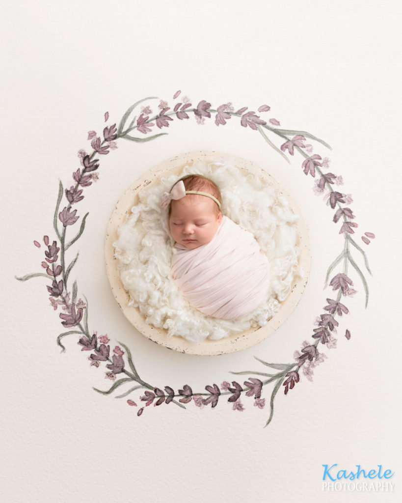 Watercolor flower wreath for Utah County Newborn Photography Post