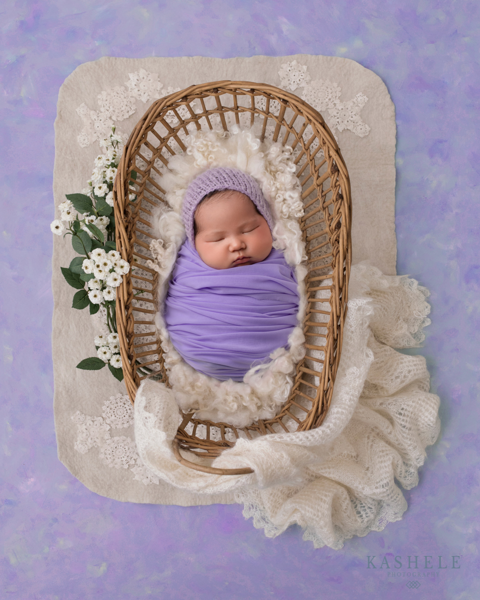Baby in a basket for Questions to ask your newborn photographer post