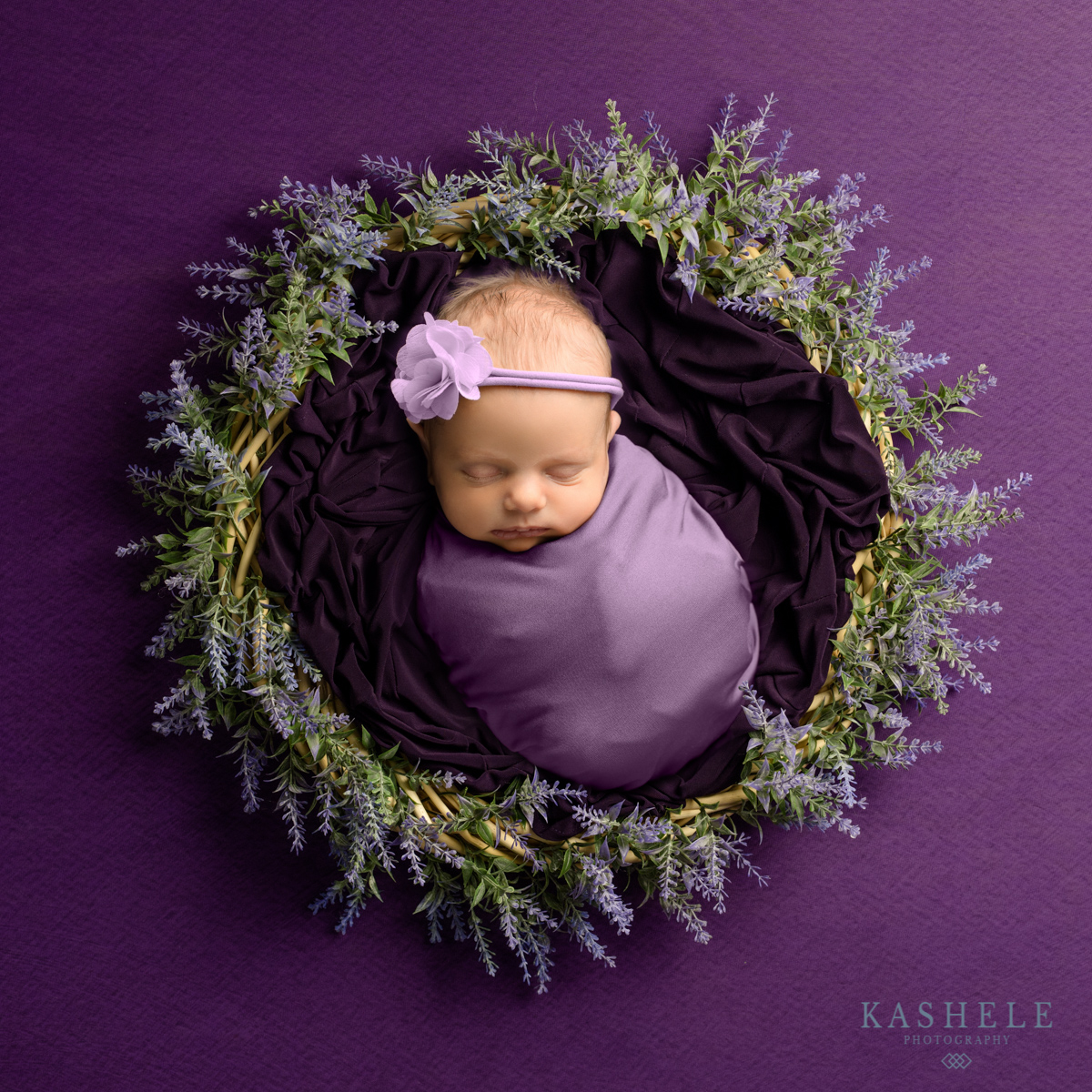 Baby in a flower wreath for Questions to ask your newborn photographer post