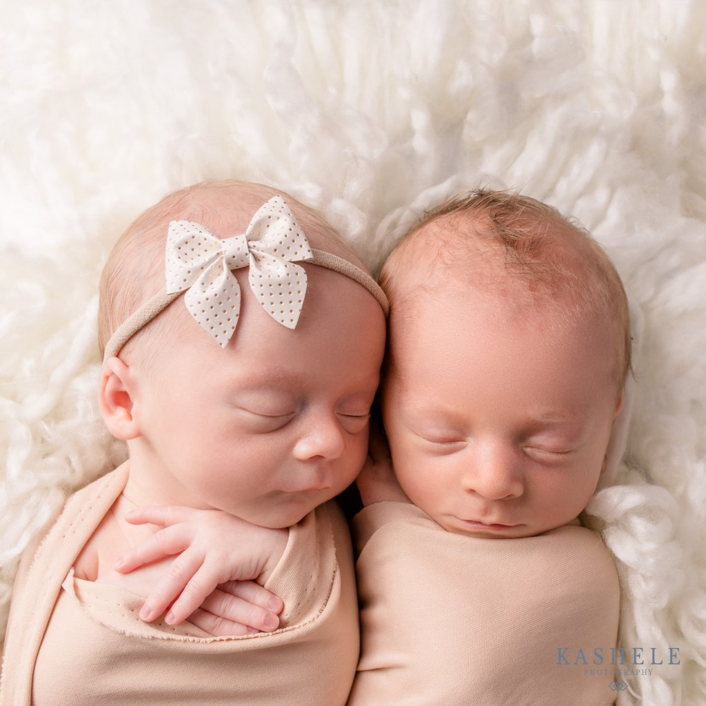 Commercial Product Photography Full Line Image of twin babies modeling a hairbow