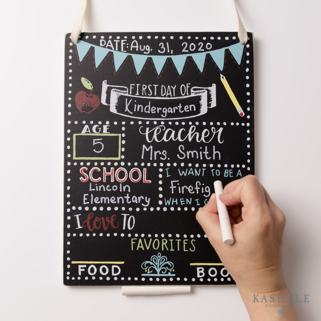 Commercial Product Photography Utah flatlay image of first day of school chalkboard sign