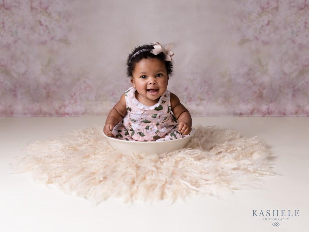 Little girl in floral prints