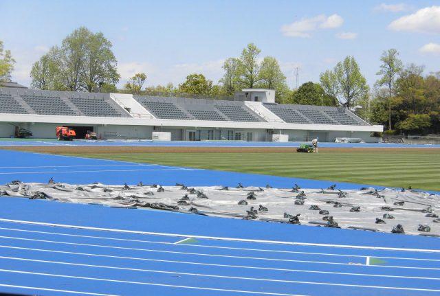 多摩市立陸上競技場 メインスタンド 屋根 改修
