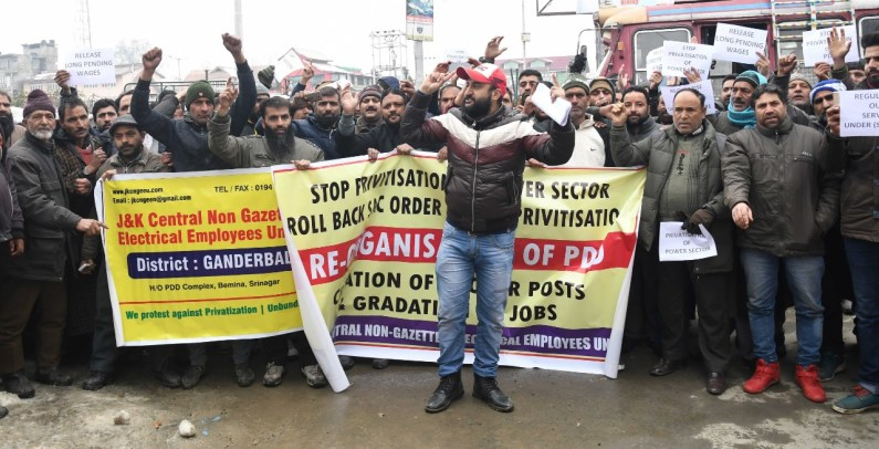 PDD employees protests in Srinagar