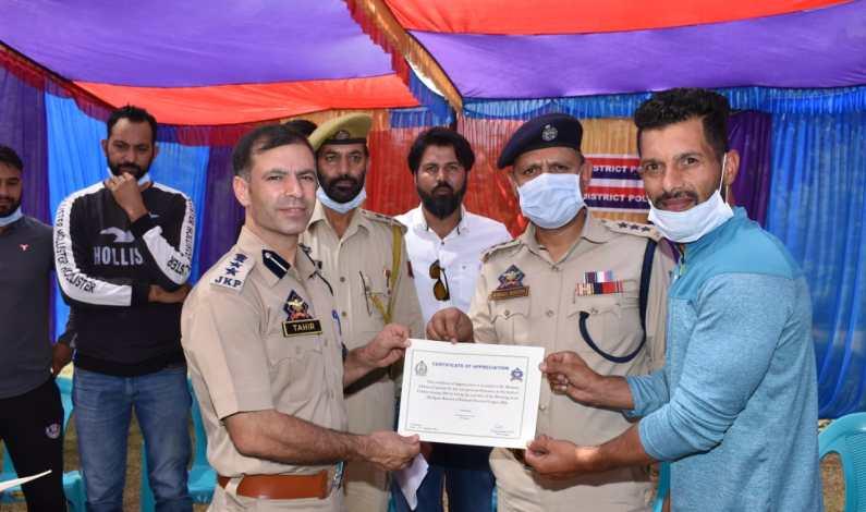 Police felicitates winners of Kashmir Premier League 2021 in Budgam