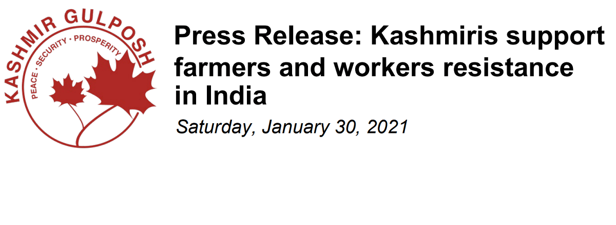 Press Release: Kashmiris support farmers and workers resistance in India