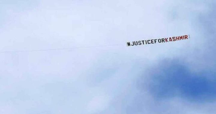 During India-Lanka WC game 'Justice for Kashmir' banner flown in the UK