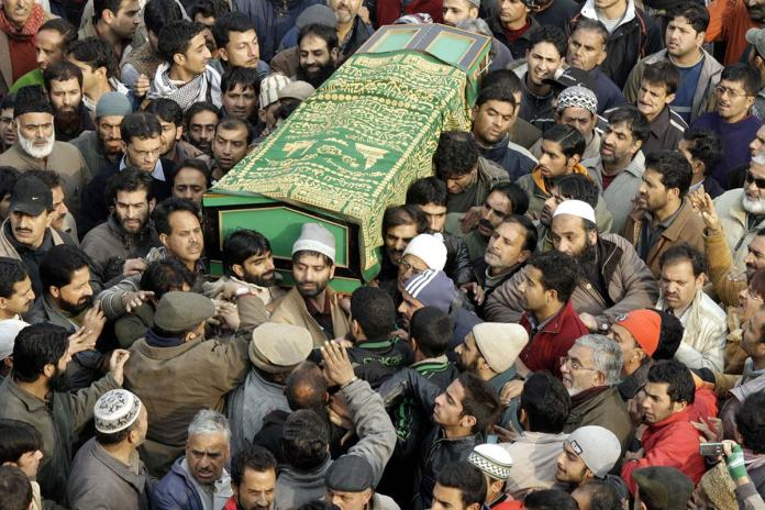 Khawaja Bhat's funeral procession in Lal Chowk