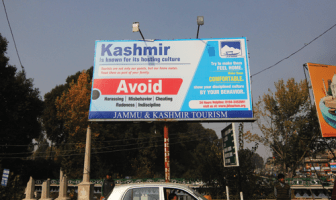 A Hoarding with messages portraying Kashmiris as Cheats -- Photo:Bilal Bahadur.