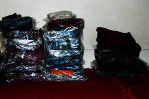 Piles of newly bought blankets at Shamima's residence meant for the poor (Photo-Abdul-Basit)