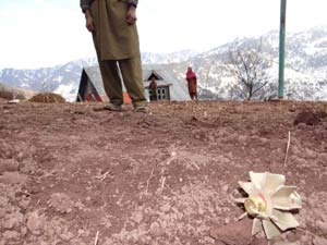 Remains of Pakistani Shell that landed in Churanda Village -- Photo: Abid NAbi