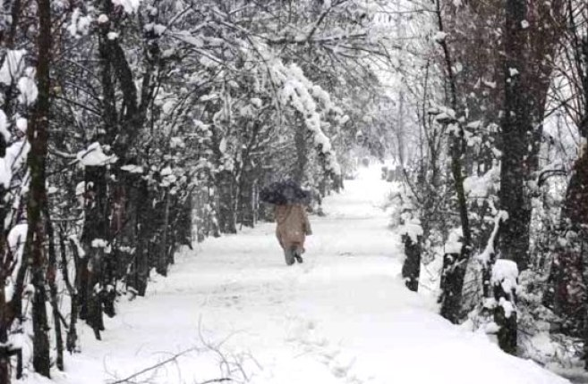 A man walks through a snow covered road on the outskirts of Srinagar on Friday. Photo: Bilal Bahadur
