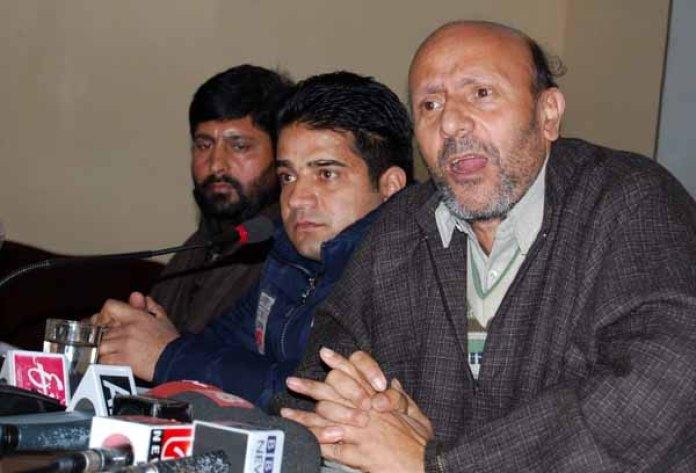 MLA Langate Engineer Rashid addressing press conference in Srinagar