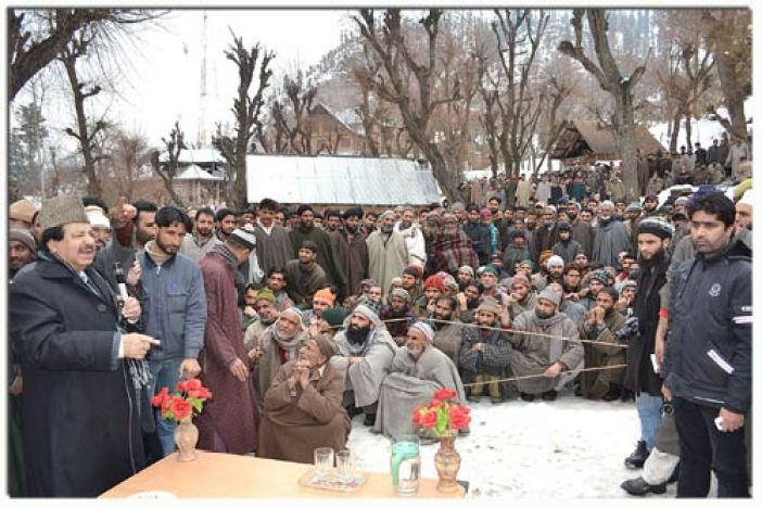 Congress leader peerzada Mohammad syed addressing people in a south Kashmir village where Hepetatis C endemic has raised fears and concerns among the masses