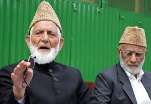 Geelani speaking on a press conference at his residence