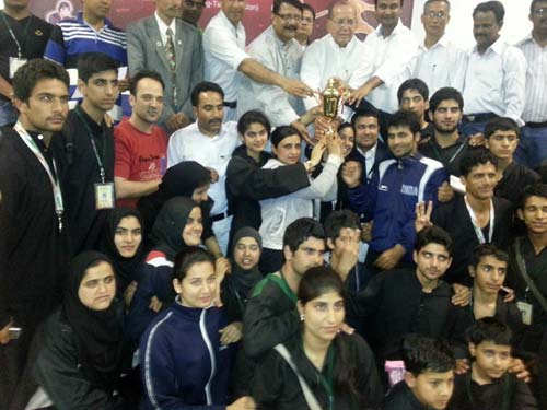 Players of JKTTA posing for a photograph after their historic win in Jharkhand.