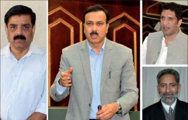 From L to R : DG Police Ashok Prasad, MoS Home Sajad Kichloo, MoS Revenue and MLA Gool Aijaz Khan and former Education Minister Abdul Gani Malik
