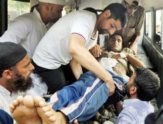 Injured being taken to hospital.
