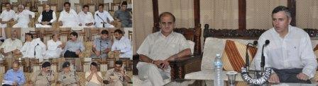 Chief Minister, Omar Abdullah reviewing situation at Ministers' meeting at Jammu-12