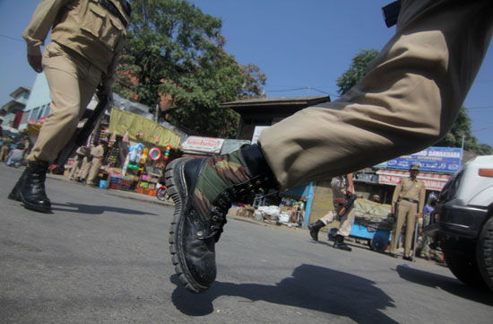 On Run: Pacing towards the spot, police and paramilitary were seen in adrenalin rush.