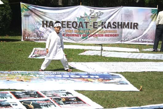 Suzain, son of Neelofar of Shopian at Haqeeqat-e-Kashmir. Pic: Bilal Bahadur