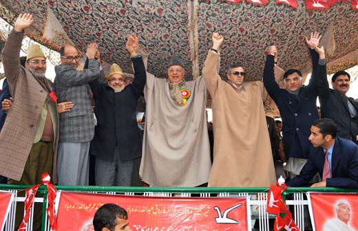 Show of Strength: Chief Minister Omar Abdullah with senior party leaders at a function held recently to celebrate NC founder's birth anniversary. Pic: Bilal Bahadur