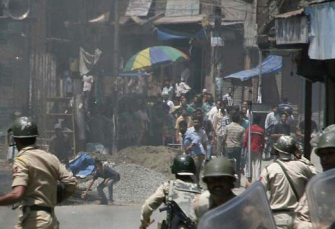 In a file photograph, protesters clashing with paramilitary forces against fake encounter in Pathribal.