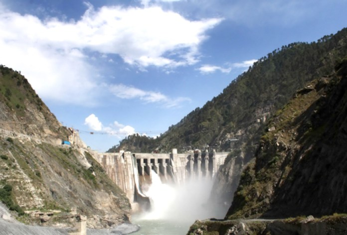 The Dam: Excess water flowing down the baglihar dam.