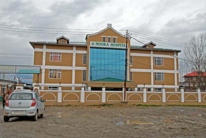 Noora Hospital in the outskirts of city on Srinagar-Muzzaffarabad road. (Pic: BILAL BAHADUR)