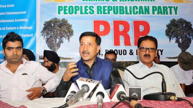 Newly launched JKPRF members addressing media in Srinagar on Saturday.