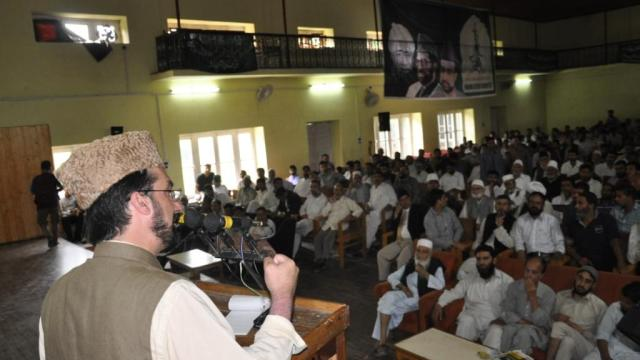 Mirwaiz addressing delegate convention in Town hall Islamabad on Tuesday.