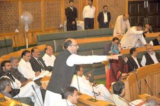 NC's Kashmir Province president Nasir Aslam Wani making a point in the on going assembly session. Pic: Bilal Bahadur