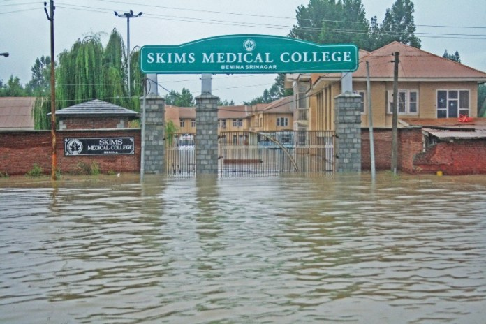 SKIMS  submerged in Flood water in Bemina area of Srinagar.