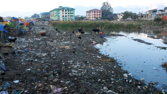 Constructions that have come up in Doodh Ganga stream near Batamaloo