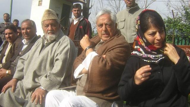Late Molvi Iftikhar Hussain Ansari along With Mufti Muhammad Sayeed and Mehbooba Mufti   File Photo
