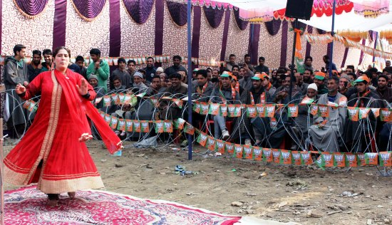 A dancer performs at a BJP rally in Harnag area of Homeshalibugh, Kulgam on Sunday.