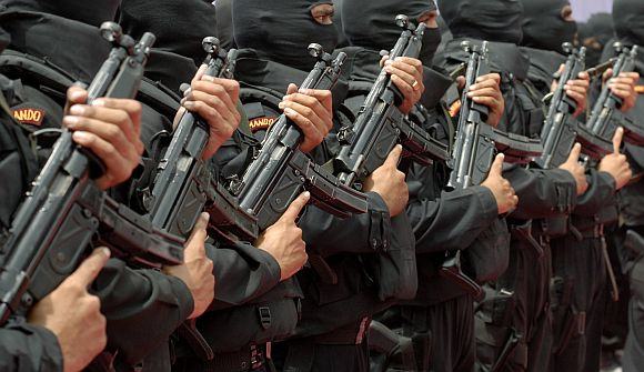 NSG commandos stand during opening of their new hub in Hyderabad