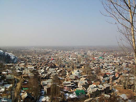 An aerial view of Anantnag town. Pic: Bilal Bahadur