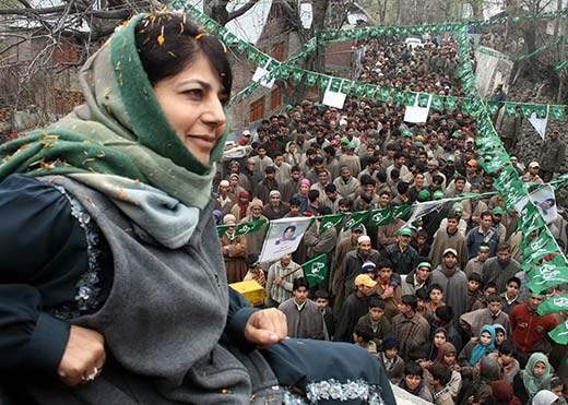 Mehbooba Mufti during an election rally in this file picture. Pic: Bilal Bahadur