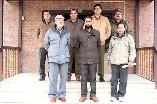 SP Hazratbal, Rayees Mohammad Bhat alongwith some of his SIT members. Pic: Durdana Bhat