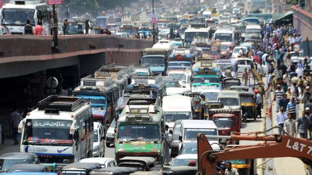 One of the routine glimpses of city's traffic. Pic: Bilal Bahadur
